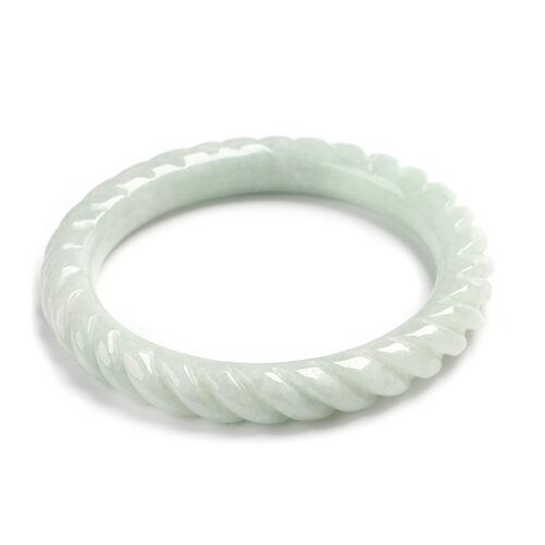 Extremely Rare Organic Natural Jade Swirl Bangle (Size 7.25) 255.50 Ct.