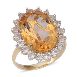 15 Carat Citrine and Cambodian Zircon Halo Ring in Gold Plated Sterling Silver