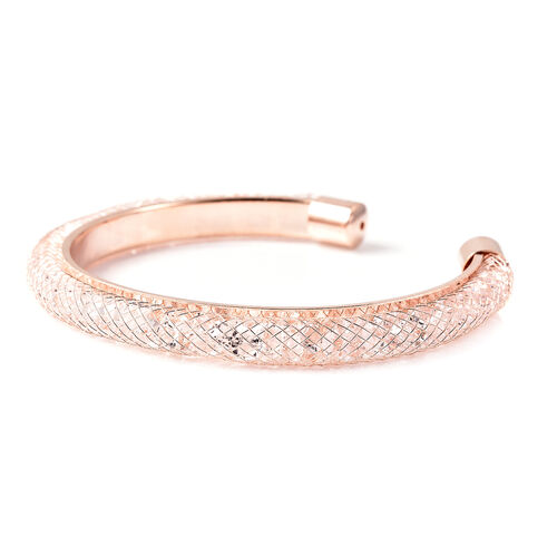 White Austrian Crystal Cuff Bangle (Size 7) in Rose Gold Tone