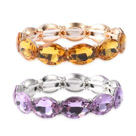 Set of 2 - Simulated Citrine (Ovl), Simulated Amethyst Bracelet (Size 6.25 Stretchable) in Silver an
