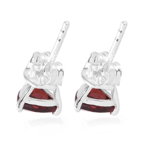 Mozambique Garnet Stud Earrings (with Push Back) in Sterling Silver 1.75 Ct.