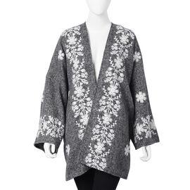 Tweed Floral Border Embroidered Kimono (Size 72x80cm) - Dark Grey and White