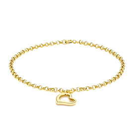 Chain Bracelet with Heart Charm Bracelet in 9K Yellow Gold 7 Inch