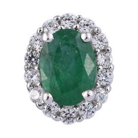 1.05 Ct Kagem Zambian Emerald and Cambodian Zircon Halo Pendant in 9K White Gold