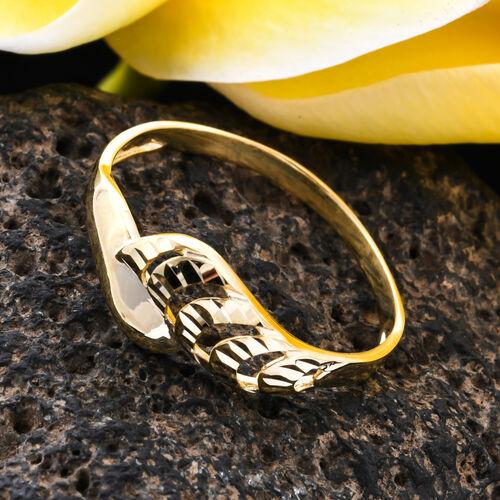 9K Yellow Gold Diamond Cut Bypass Ring, Gold wt 1.10 Gms