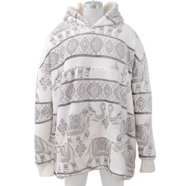 Super Auction - Elephant Printed Flannel Sherpa Family Blanket Sweatshirt (Size 95x78.5 Cm) - White