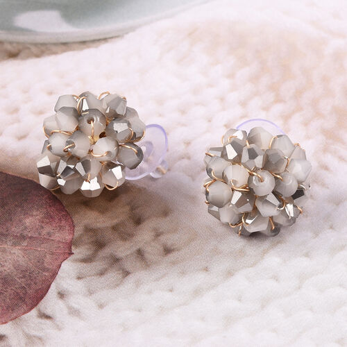 Simulated Bi-Colour Beads Stud Earrings (with Push Back) in Gold Tone