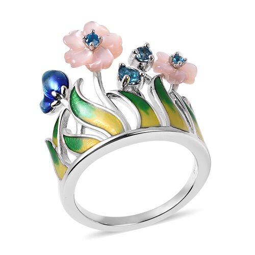 Jardin Collection - Purple Mother of Pearl, Neon Apatite and London Blue Topaz Enamelled Floral Crow