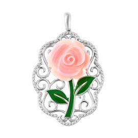 Pink Mother of Pearl (9.75 Ct) Sterling Silver Pendant  9.750  Ct.