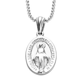 GP- Madonna Pendant with Chain in Platinum Overlay Sterling Silver, Silver wt 9.00 Gms