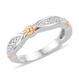 Natural Cambodian Zircon (Rnd) Band Ring in Platinum and Yellow Gold Overlay Sterling Silver