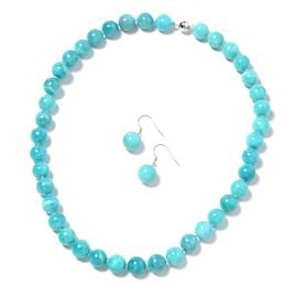 2 Piece Set - Russion Amazonite (Rnd) Beaded Necklace (Size 20) and Hook Earrings in Rhodium Overlay