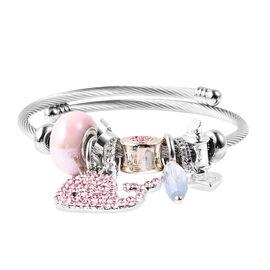 Simulated Pink Bead, Simulated Diamond, Black and Pink Austrian Crystal Adjustable Charm Bracelet (S