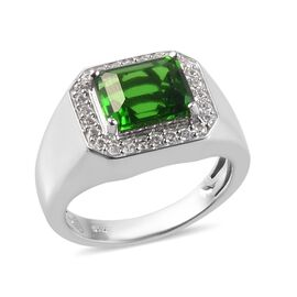 Helenite and Natural Cambodian Zircon Ring in Platinum Overlay Sterling Silver 3.75 Ct, Silver wt 6.