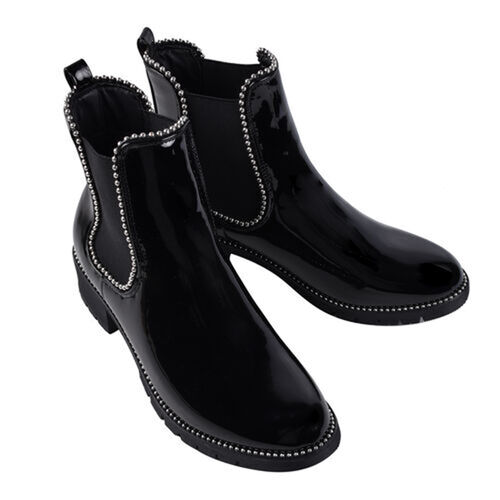 Faux Leather Gusset Boots (Size 3) - Black