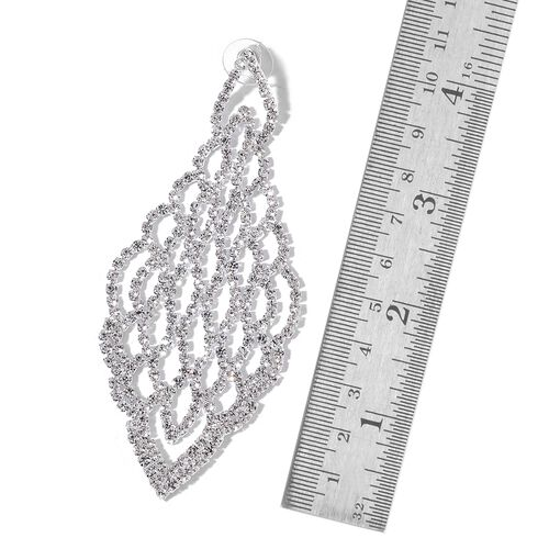 (Option 2) AAA White Austrian Crystal Chandelier Earrings (with Push Back) in Silver Tone
