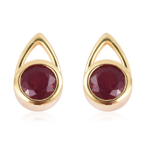 LucyQ - Open Drip Collection - African Ruby (Rnd) Stud Earrings in Yellow Gold Overlay Sterling Silver 3.960 Ct., Silver wt 5.30 Gms.