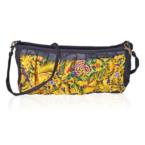 Shanghai Collection Royal Gold Dragon Embroidered Crossbody Bag with Removable Shoulder Strap (Size 27X13X10 Cm)