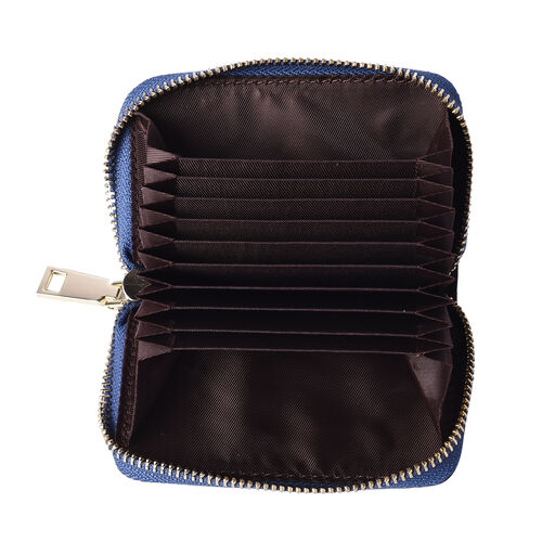 Sencillez 100% Genuine Leather RFID Protected 11 Slots Card Holder Wallet (Size 12x2x8 Cm) - Blue