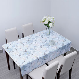 100% Waterproof PVC Table Cloth with Floral Pattern (Size 140x137cm) - Baby Blue