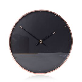 Decorative Round Shape Wall Clock (Size 28x28x4.5 Cm) Rose Gold Colour Dot