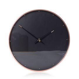 Decorative Round Shape Wall Clock (Size 28x28x4.5 Cm) Rose Gold Colour Dot