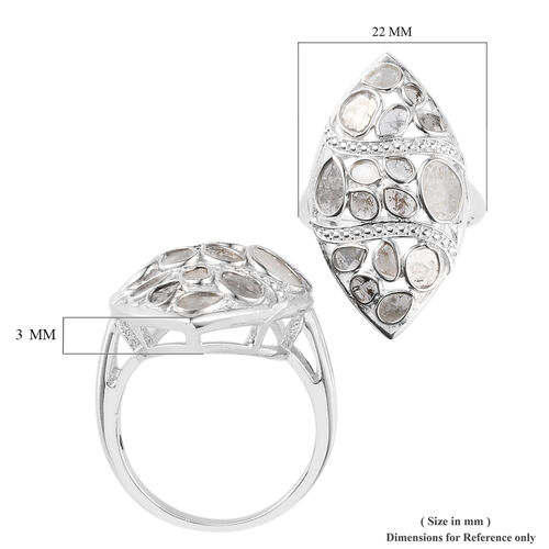 GP - Polki Diamond and Blue Sapphire Ring in Platinum Overlay Sterling Silver 1.030 Ct.