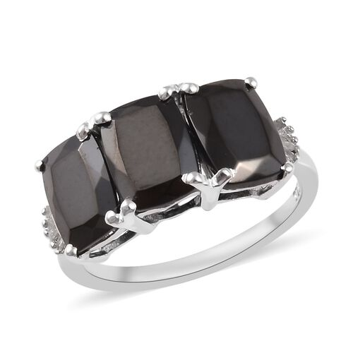 2.50 Ct Elite Shungite and Diamond Trilogy Ring in Platinum Plated Sterling Silver