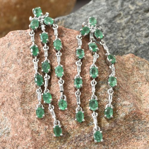 Kagem Zambian Emerald (Ovl), White Topaz Chandelier Earrings (with Push Back) in Platinum Overlay Sterling Silver 4.500 Ct. Silver wt 6.84 Gms.