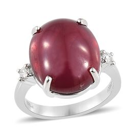 RHAPSODY 950 Platinum AAAA African Ruby (Ovl 14.40 Ct), Diamond (VS/F) Ring 14.530 Ct, Platinum wt 6.83 Gms.