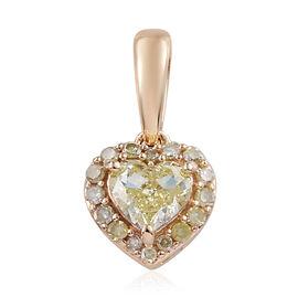 9K Yellow Gold Yellow Diamond (Rnd) Heart Pendant 0.500 Ct.