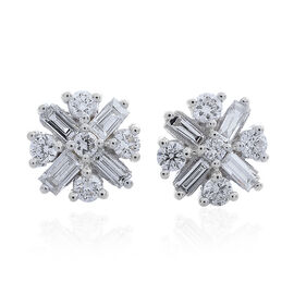 ILIANA 18K White Gold IGI Certified Diamond (Rnd) (SI/G-H) Stud Earrings (with Screw Back) 0.50 Ct.