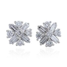 ILIANA 18K White Gold IGI Certified Diamond (Rnd) (SI/G-H) Stud Earrings (with Screw Back) 0.50 Ct.