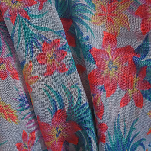 Light Blue, Pink and Multi Colour Flower and Leaves Pattern Apparel (Size 80x65 Cm)