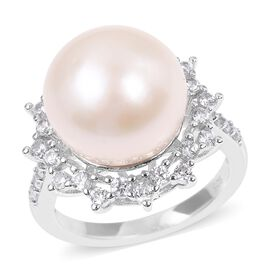 Edison Pearl (Rnd) and Natural White Cambodian Zircon Ring in Rhodium Overlay Sterling Silver