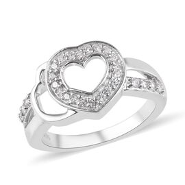 J Francis Made with SWAROVSKI ZIRCONIA Heart Ring in Platinum Plated Sterling Silver