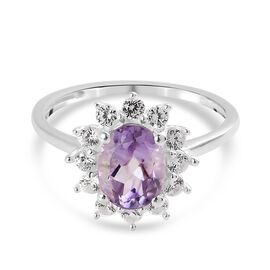 Pink Amethyst and Natural Cambodian Zircon Halo Ring in Sterling Silver 1.75 Ct.