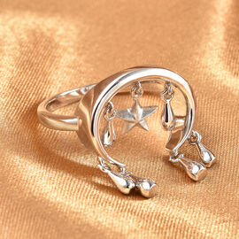 LucyQ Star Collection- Rhodium Overlay Sterling Silver Ring, Silver Wt. 5.00 Gms