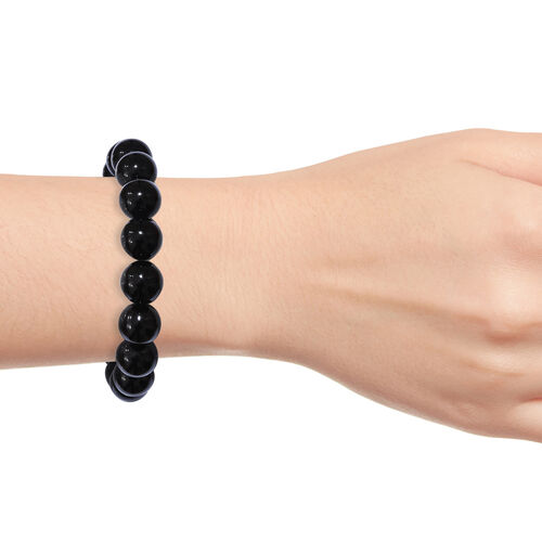 Black Agate Stretchable Bracelet (Size 7) 165.200 Ct.