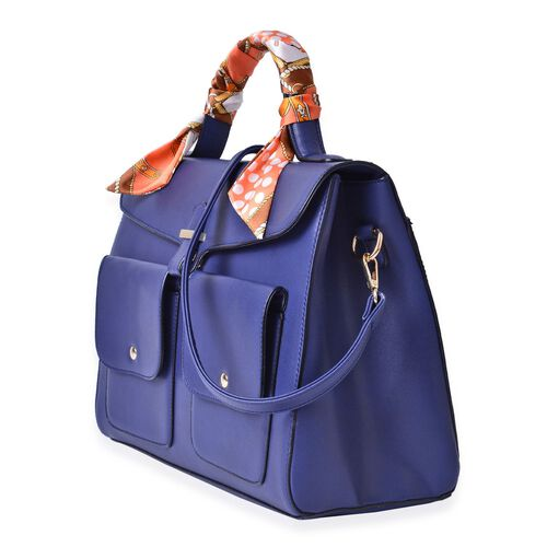 Navy Colour Large Tote Bag with External Pocket and Adjustable and Removable Shoulder Strap with Multi Colour Scarf (Size 35x28x16 Cm, 87x4 Cm)