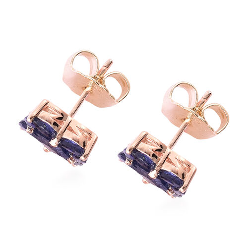 Isabella Liu Floral Collection - Masoala Sapphire Stud Earrings (with Push Back) in Rose Gold Overlay Sterling Silver