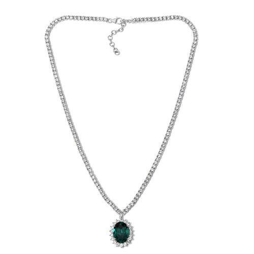 J Francis Crystal from Swarovski- Emerald Green Crystal (Ovl), White Crystal Necklace with Chain (Size 18 with 2 inch Extender) in Platinum Overlay Sterling Silver, Silver wt 32.66 Gms.