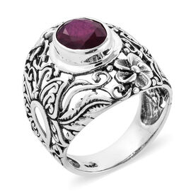 Royal Bali Collection African Ruby (Ovl 10x8 mm) Ring in Sterling Silver 3.530 Ct, Silver wt 6.20 Gm