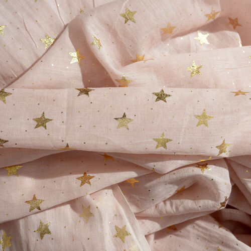 New for Season - 100% Cotton Pink Colour Scarf with Golden Foil Star Print (Size 180x110 Cm)