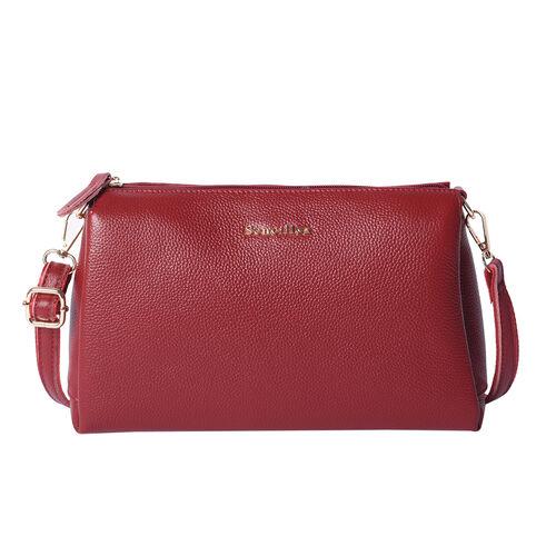 SENCILLEZ 100% Genuine Leather Crossbody Bag with Adjustable Shoulder Strap and Zipper Closure (Size