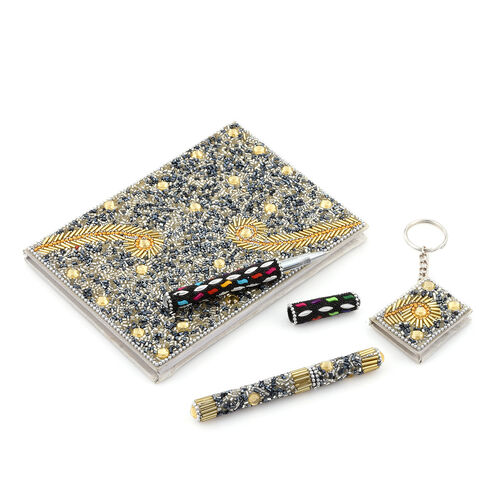 Golden Swirls Bead Decorated Set of Diary (Size 12.7 Cm), Key Chain (Size 3.8 x5.1 Cm) and Black and Golden Pen