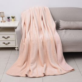 High-Quality Flannel Sherpa Bonded Blanket (Size 200x150 Cm) - Peach