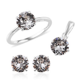 3 Piece Set - J Francis Crystal from Swarovski White Colour Crystal Solitaire Ring, Stud Earrings (w