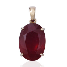 9K Yellow Gold AAA African Ruby (Ovl 14x10 mm) Pendant 9.000 Ct.