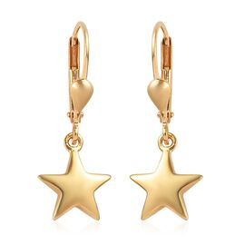 14K Gold Overlay Sterling Silver Star Lever Back Earrings, Silver wt 2.50 gms
